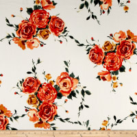 Liverpool Double Knit Roses Orange/Ivory