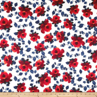 Techno Scuba Knit Watercolor Floral Red/Navy