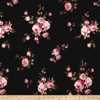 Techno Scuba Knit English Roses Rose on Black