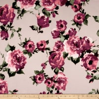Techno Scuba Knit Large Roses Mauve on Stone