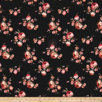 Techno Scuba Knit Floral Mauve/Brown on Black