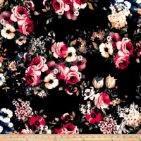 Techno Scuba Knit Floral Dark Coral on Black