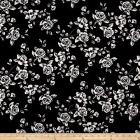 Techno Scuba Knit Roses White/Black