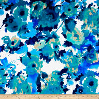 Techno Scuba Knit Watercolor Floral Blue