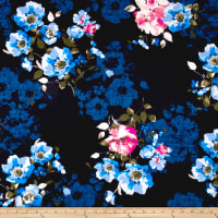 Techno Scuba Knit English Floral Blue on Navy