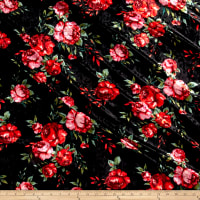 Stretch Crushed Velvet Roses Red on Black
