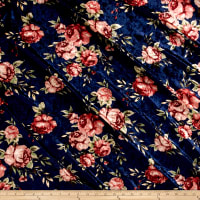 Stretch Crushed Velvet Roses Mauve on Navy