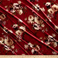 Stretch Crushed Velvet English Floral Mauve on Marsala