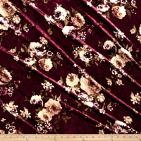 Stretch Crushed Velvet English Floral Tan on Wine