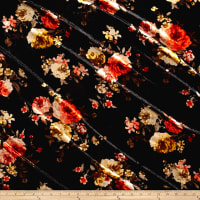 Stretch Crushed Velvet Roses Coral/Mustard on Black