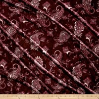 Stretch Crushed Velvet Paisley Magenta