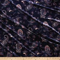 Stretch Crushed Velvet Paisley Pink/Blue