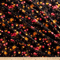 Stretch Crushed Velvet Floral Mustard/Fuschia on Black