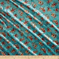 Stretch Crushed Velvet Mini Floral Mauve on Aqua