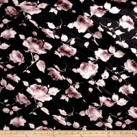 Stretch Crushed Velvet Roses Mauve/Brown on Black