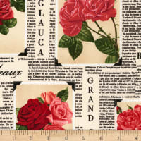 Timeless Treasures Rose Garden Rose Newspaper Latte