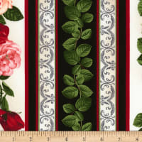 "Timeless Treasures Rose Garden 11"" Rose Stripe Multi"