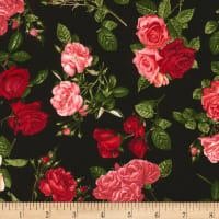 Timeless Treasures Rose Garden Allover Roses Black