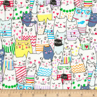 Timeless Treasures Meow Cats White