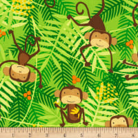 Timeless Treasures Go Bananas Monkeys Green