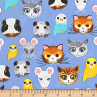 Timeless Treasures Pet Shop Animal Faces Blue