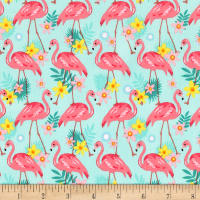 Timeless Treasures Pink Flamingos Aqua