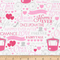 Timeless Treasures Metallic Once Upon A Time True Love Words & Carriage Optic