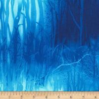 Timeless Treasures Deep Forest Trees Aqua