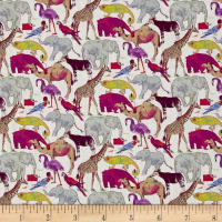 Liberty Fabrics Tana Lawn Queue for the Zoo Pink