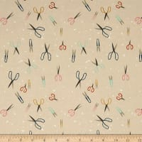 Cotton + Steel Paper Cuts Leafy Wonder Scissors Teal