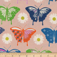 Cotton + Steel Flutter Butterflies Peach