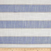 "Europa Thick Striped 110"" Sheers Blue/White"