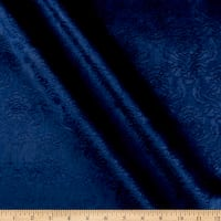 Europa Damask Embossed Velvet Navy