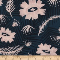 Cotton + Steel Rayon Challis Poolside Palm Springs Bouquet Blue
