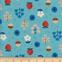 Cotton + Steel Welsummer Forage Bright Blue