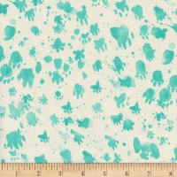Cotton + Steel Santa Fe Coyote Tracks Turquoise