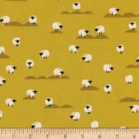 Cotton + Steel Panorama Sunrise Sheep Mustard