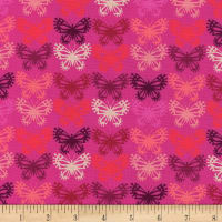 Cotton + Steel Panorama Sunrise Butterflies Fuchsia