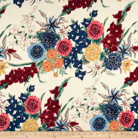 Cotton Linen Tropical Floral Coral/Blue
