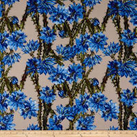 Cotton Linen Broadcloth Tropical Paradise Floral Blue/Brown