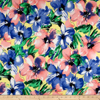 Cotton Linen Floral Peach/Blue