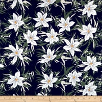 Cotton Linen Floral White/Navy/Green