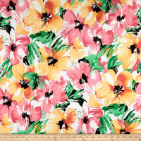 Cotton Linen Broadcloth Floral Pink/Green
