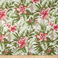 Cotton Linen Broadcloth Tropical Floral Sage/Coral