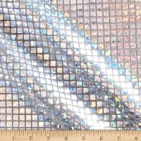 Iridescent Sequin Square Hologram Mesh Silver