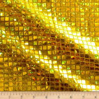 Iridescent Sequin Square Hologram Mesh Gold