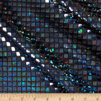 Iridescent Sequin Square Hologram Mesh Black