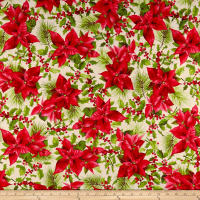 Maywood Studio Poinsettia & Pine Poinsettia Mixed Floral Cream