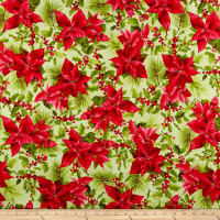 Maywood Studio Poinsettia & Pine Poinsettia Mixed Floral Light Green