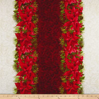 Maywood Studio Poinsettia & Pine Poinsettia Mixed Stripe Cream/Red